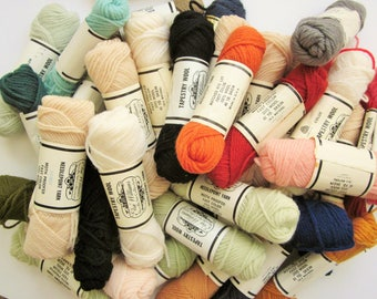 Nice Big Group of Elsa Williams Tapestry Wool Needlepoint Yarn, 100% Wool, with a lot of skeins ecru and other assorted colors