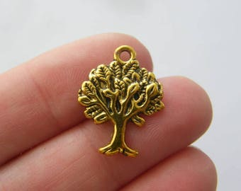 BULK 50 Tree charms antique gold tone GC160