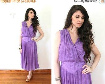 ON SALE 70s Grecian Dress / 1970s Lilac Purple Boho Gauze Dress