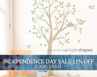Independence Day Sale - THE ORIGINAL Tree with Birds and Nest Decal - Children's Vinyl Wall Decal Set