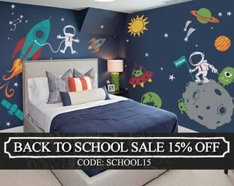 Outer Space Wall Decal, Stars, Planets, Astronaut, Rocket Ship - Kids Wall Decals