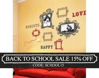 Vintage Photo Frames Deluxe Three Color - Vinyl Wall Sticker