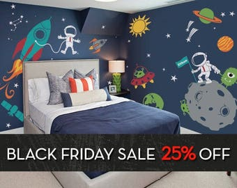 Outer Space Wall Decal, Stars, Planets, Astronaut, Rocket Ship   Kids Wall Part 32