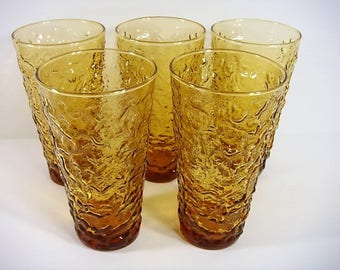 5 Extra Large Amber Tumblers Anchor Hocking Lido Milano Tumblers Textured Drinkware