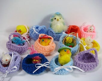13 Crocheted Baskets Mini Crocheted Baskets Mini Easter Baskets Chicks and Bunnies