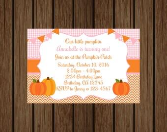 Pink and Orange Pumpkin Birthday Invitation, Fall Birthday, Our Little Pumpkin Invitation, Girl Birthday Invitation