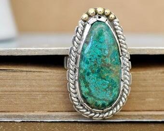 VINTAGE FIND native Navajo large turquoise sterling silver ring, sterling silver cocktail ring, size 9, mix metal, artist signed ring