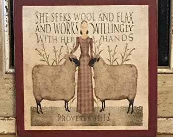 Farmhouse Decor,Folk Art,Primitive Decor, Wool And Flax Art, Primitive Sheep, Primitive Sign, Wood Sign, Primitive Country Decor