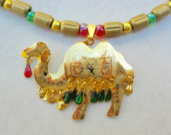 Bejeweled Camel Pendant, All Ages Necklace, Brass Beads, Glass Seed Beads, Matching Earrings, Set by SandraDesigns