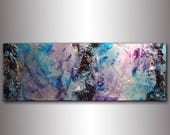 Original Textured Modern Large Abstract Metallic Thick Texture Gallery Canvas Art Contemporary Fine Art By Henry Parsinia 48x18
