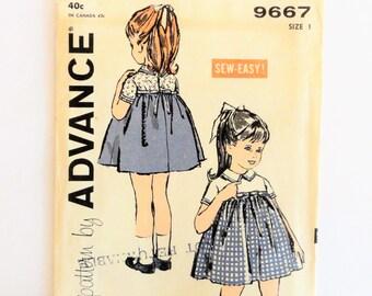 Toddler girls dress pattern, empire waist, short sleeves, cute uncut, vintage sewing pattern, Advance 9667, size 1, breast 20