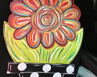 Wood Flower w/pot Door Hanger