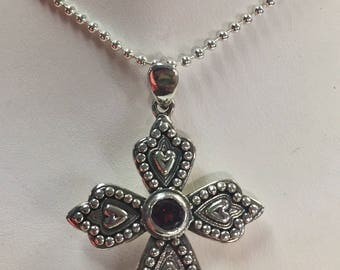 Garnet and Sterling Silver Cross Pendant Necklace