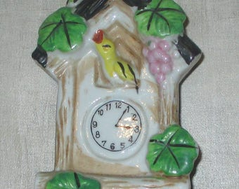 SALE Vintage Wall pocket with bird and clock