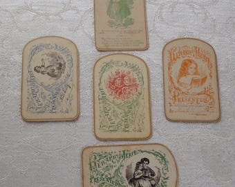 Vintage Reward of Merit & Religious Cards 5 Pc. Curved Ends