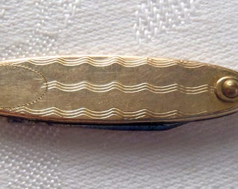 Vintage Pocket Watch Fob Knife Gold Top