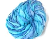 Thick and thin handspun yarn spun in merino wool, super bulky weight, 48 yards 3.25 ounces/ 93 grams