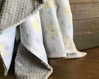 Yellow and Blue Neutral Baby Blanket