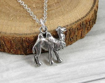 Two Hump Camel Necklace, Silver Bactrian Camel Charm on a Silver Cable Chain