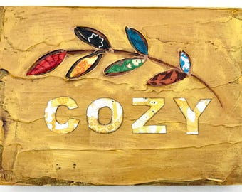 Cozy mixed media original painting
