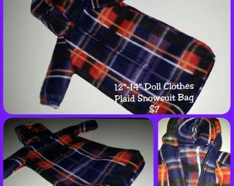 12 - 14 inch Baby Doll Clothes - Snowsuit - Blue, Orange Plaid