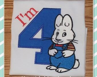 Embroidered Shirt - Birthday Shirt - Custom - Max - Bunny with Overalls