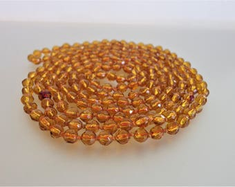 Vintage Long 1920's Flapper Small Amber Glass Bead Necklace