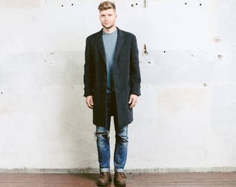 Men Winter Coat . Vintage 60s Wool Overcoat Belted Back Coat Mens Winter Grey Check Print Coat Topcoat 1970s Outerwear . size Medium