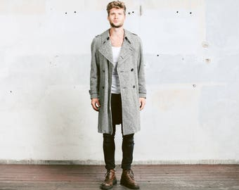Men Winter Wool Coat . Tweed Overcoat Grey Men's Vintage 1970s Jacket Greatcoat Topcoat Coat Cocoon Jacket . size Large