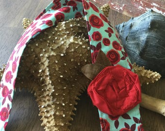 Headwrap Headband // Turquoise with Red Roses and Red Fabric Rose // Fabric Headband