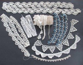 Assorted Vintage Handmade Lace Yardage Crochet Tatting Repurpose as found