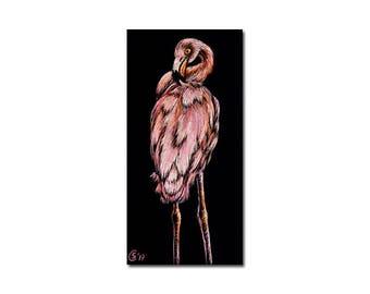 "FLAMINGO 2 pink bird flamant rose scratchboard painting Sandrine Curtiss ORIGINAL Art MINIATURE 2.5""x1.25"""