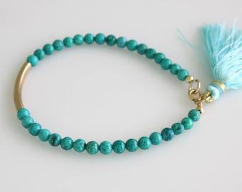 Turquoise Bracelet, Gold Tube Bracelet,  Friendship Bracelet, Teen Bracelet, Tassel Bracelet, Layering Bracelet, Dainty Bracelet