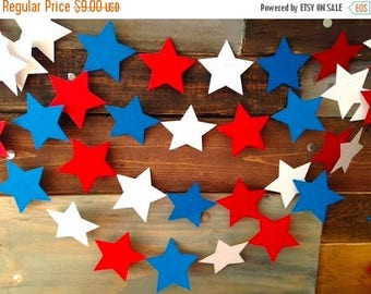 End of Summer Sale Red, White and Bright Blue Stars Nautical 4th of July Paper Garland Birthday Party Decor, Baby Shower, Nursery, Summer BB