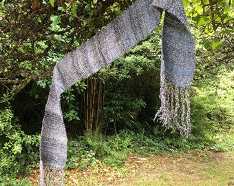 Stormy Seas - Hand Woven Scarf in Handspun Yarn, Cornwall, UK