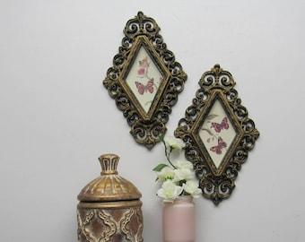 wall decor - vintage - Pink Butterflies