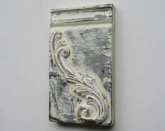 Plinth block -Antique White- A -farmhouse style - Architectural Trim  - white chippy paint