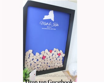 heart drop guest book wedding guestbook drop top guestbook   Alternative Heart Guestbook