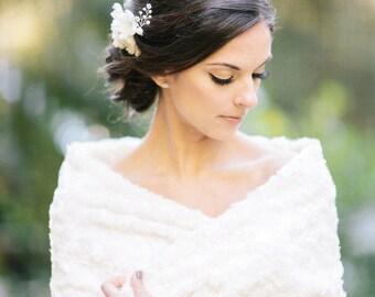 Faux Fur Bridal Cover-Up, Bridal Stole, wedding faux fur shawl, Wedding Shawl, Bridal Cape, Bridal Cover Up, Fur Stole, Bridal Cover Up