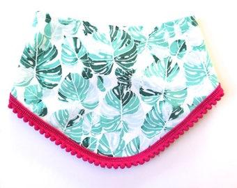 Tropical Leaves Bib - Pom Pom Bib - Bibdana - Bandana Style - Baby Girl Gift - Teething Bib - Palm Fronds - Palm Springs Beach Island Style