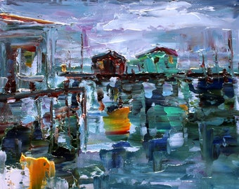 Fisherman's Warf Last Light painting Original oil abstract palette knife impressionism on canvas fine art by Karen Tarlton