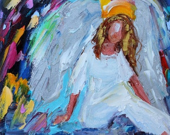 Angel on Cloud Nine painting original oil 6x6 palette knife impressionism on canvas fine art by Karen Tarlton
