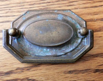 """One (1) vintage 2 1/4"""" centers antique drawer pull brass"""