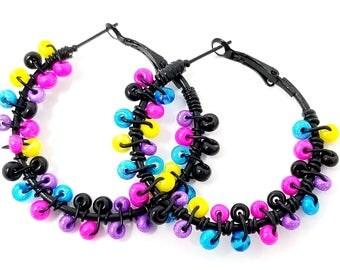 Black Bead Earrings - Black Hoop Earrings - Boho Rainbow Hoops- ChristalDreamz - Colorful Boho Hoop Earrings - Birthday Gift for Her