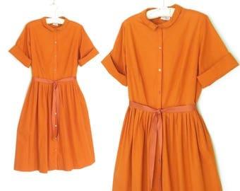 50s Day Dress * 1950s Dress * Vintage Shirtwaist House Dress * Large