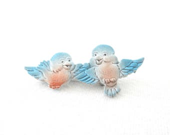 vintage bird pin * painted pin * blue birds * novelty pin * vintage pin
