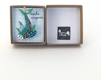 "Broche ""poisson fleuri"" // pièce unique // broche crayonnée"