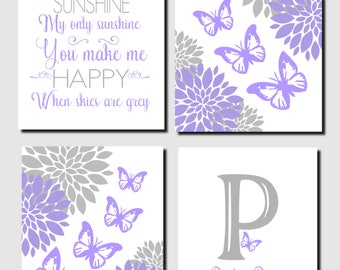 Purple Gray Nursery Art, Butterflies Wall Art, Flowers, Baby Girl Nursery, Initial, Name, You Are My Sunshine, Toddler Girl, Set of 4, Print
