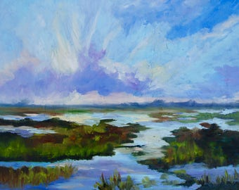 16 x 20 Modern Impressionist Original Oil Marsh Sunset Landscape Painting by Rebecca Croft