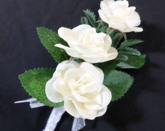 boutonniere cream silk sweetheart rose boutonniere floral boutonniere wedding boutonniere